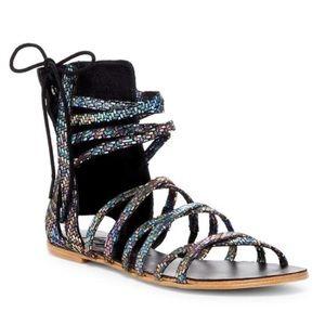 Free People Juliette Iridescent Wrap Sandals